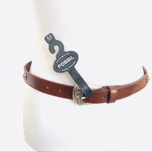 Fossil NWT Brown Leather Silver Studded Belt  S/M